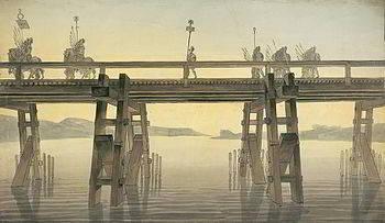 Il-ponte-di-Cesare-sul-Reno-tela-del-architetto-John-Soane-1814-ponte-romano