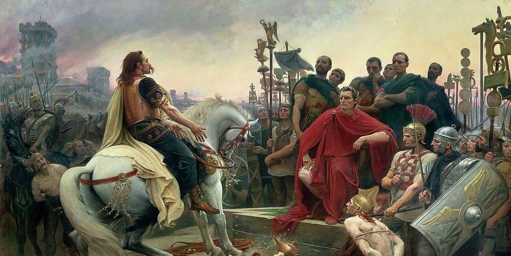 Vercingetorige getta le sue armi ai piedi di Cesare
