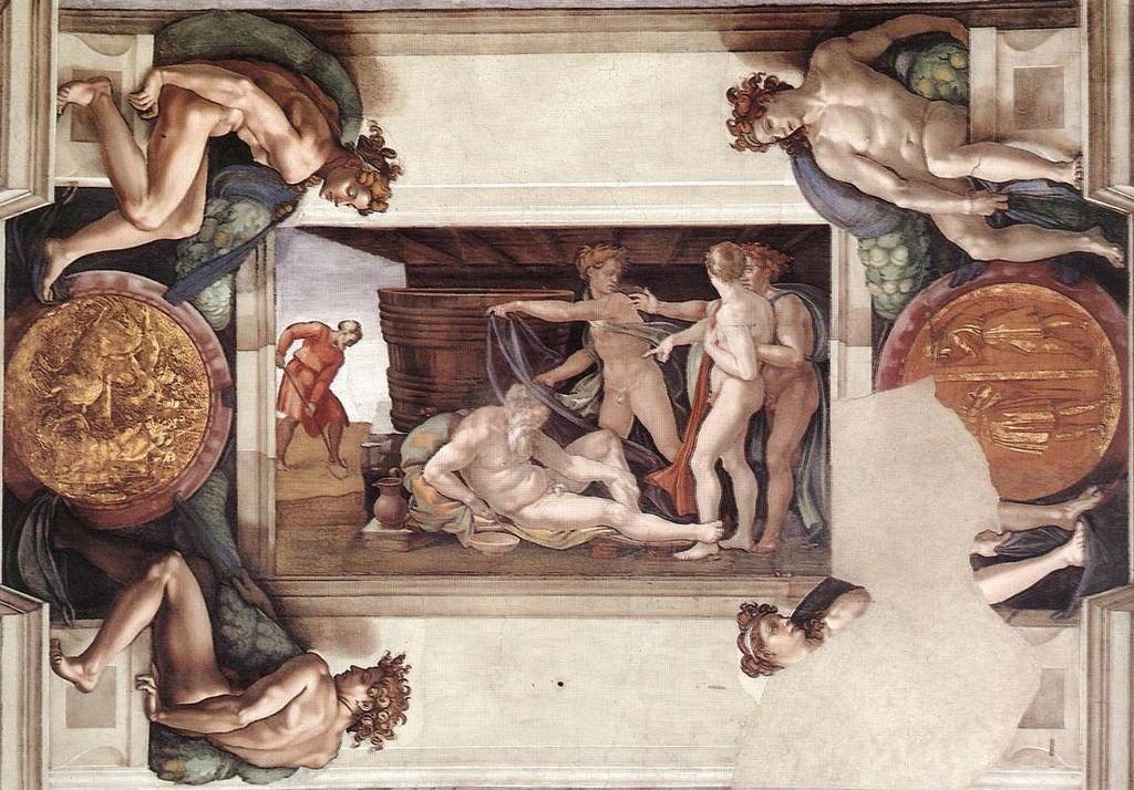 Ebbrezza-di-Noè-intero-riquadro-con-Ingnudi-e-i-medaglioni-Michelangelo
