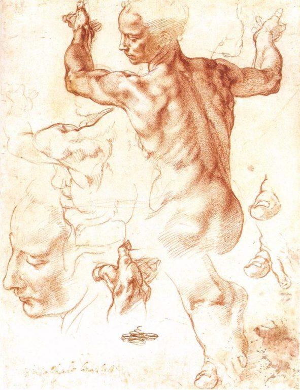 La-Sibilla-Libica-Michelangelo-disegno-preparatorio