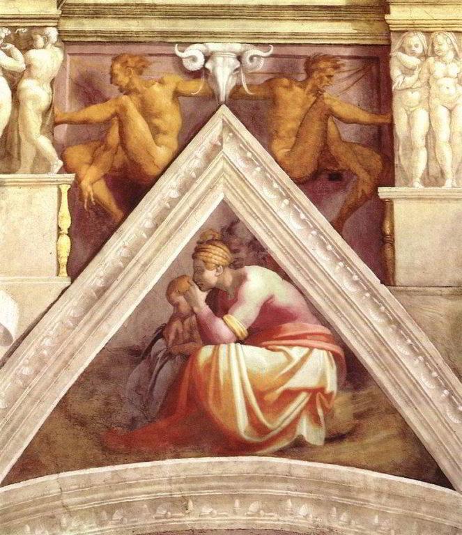 Michelangelo-antenati-di-cristo-La-vela-sopra-Roboamo-e-Abia