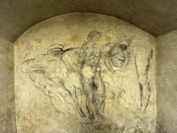 Disegni-di-Michelangelo-nel-sotterraneo-della-Sagrestia-Nuova-di-San-Lorenzo