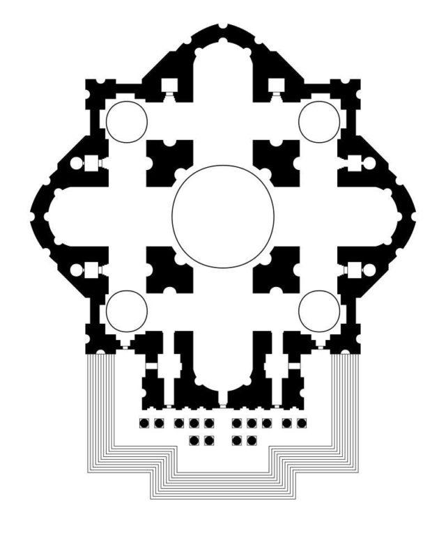 Basilica-di-San-Pietro-Schema-progetto-di-Michelangelo-Disegno-di-Etienne