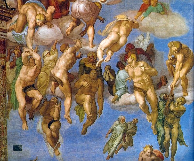 Michelangelo-Giudizio-Universale-dettagli-Ascesa-dei-beati
