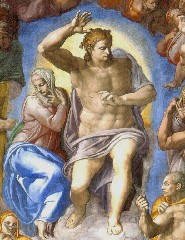Michelangelo-Giudizio-Universale-dettagli-Cristo-giudice-e-Maria