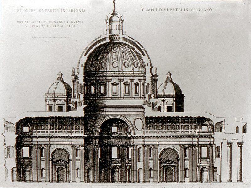 Ricostruzione-del-progetto-di-Michelangelo-sezione-longitudinale