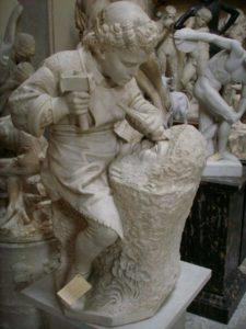 Michelangelo-giovane-scolpisce-la-testa-di-fauno-Cesare-Zocchi